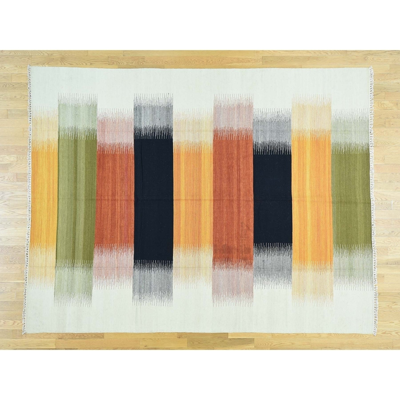 Hand Knotted Multicolored Flat Weave with Wool Oriental Rug - 8 x 103
