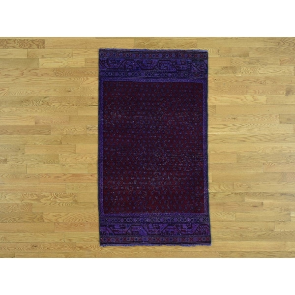 Hand Knotted Purple Overdyed & Vintage with Wool Oriental Rug - 3'1 x 5'4