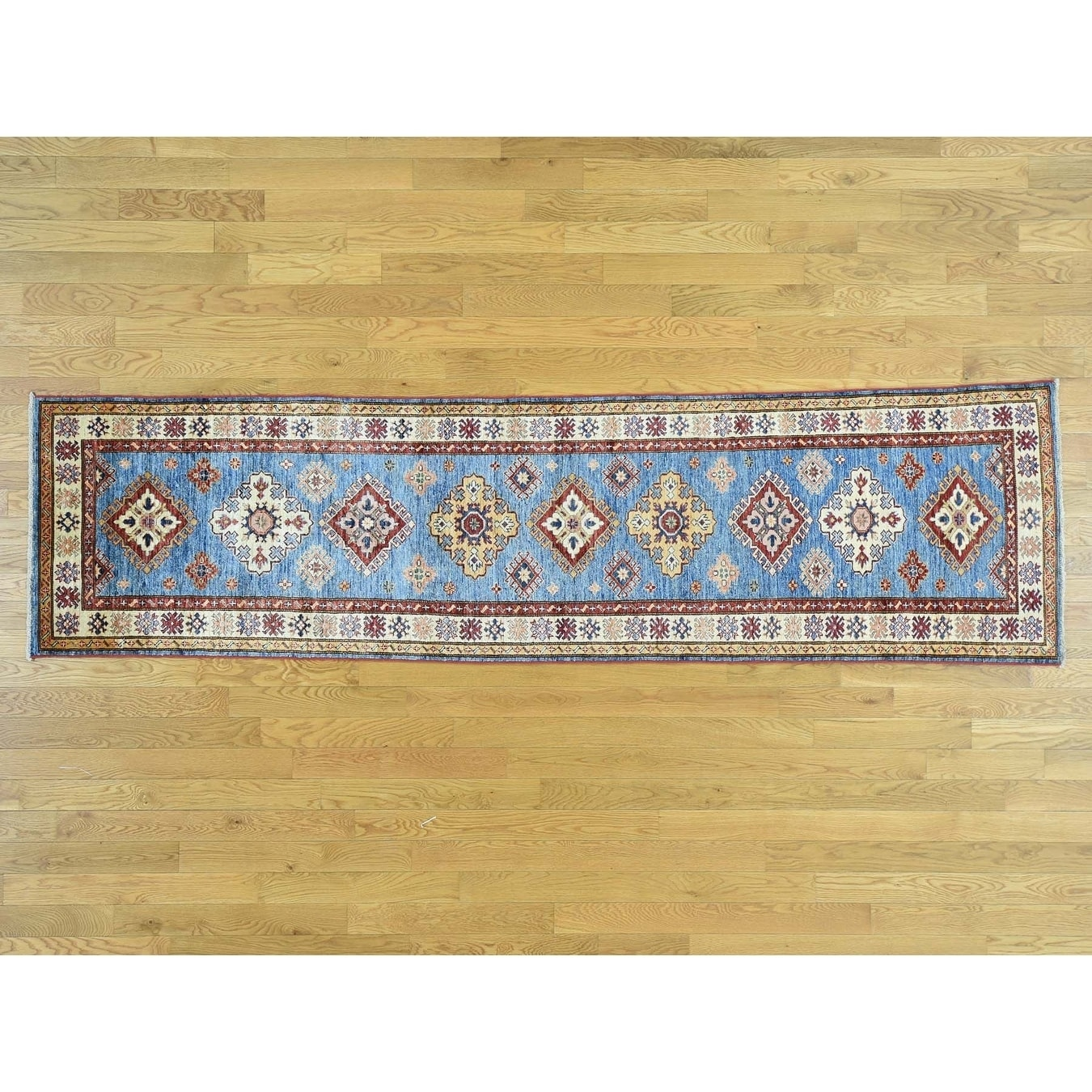 Hand Knotted Blue Kazak with Wool Oriental Rug - 27 x 10