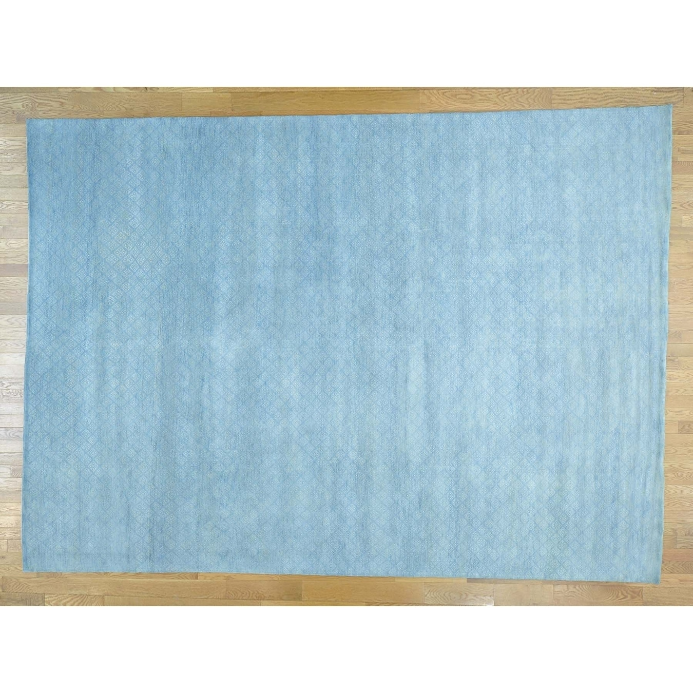 Hand Knotted Blue Modern & Contemporary with Wool & Silk Oriental Rug - 910 x 138