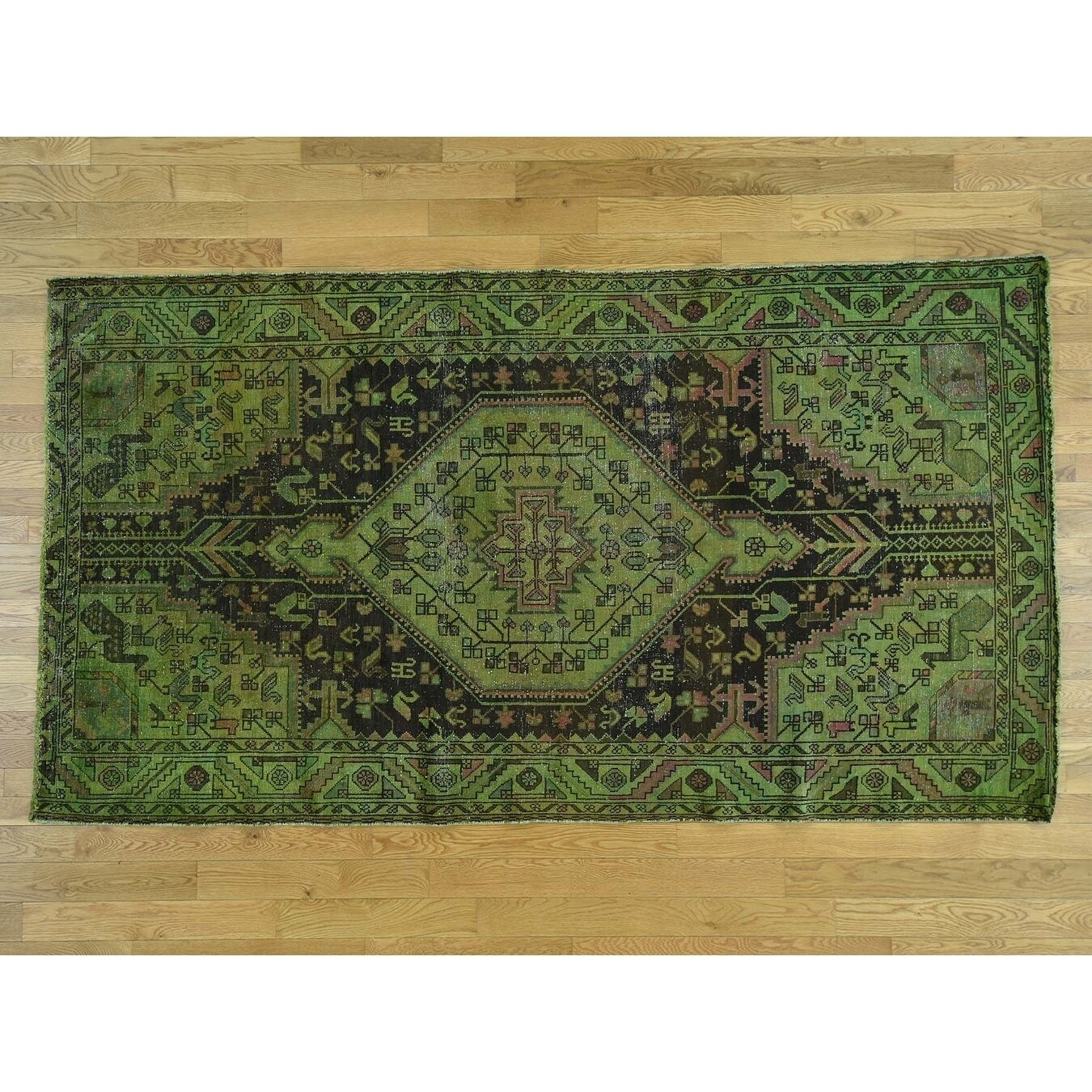 Hand Knotted Green Overdyed & Vintage with Wool Oriental Rug - 54 x 98