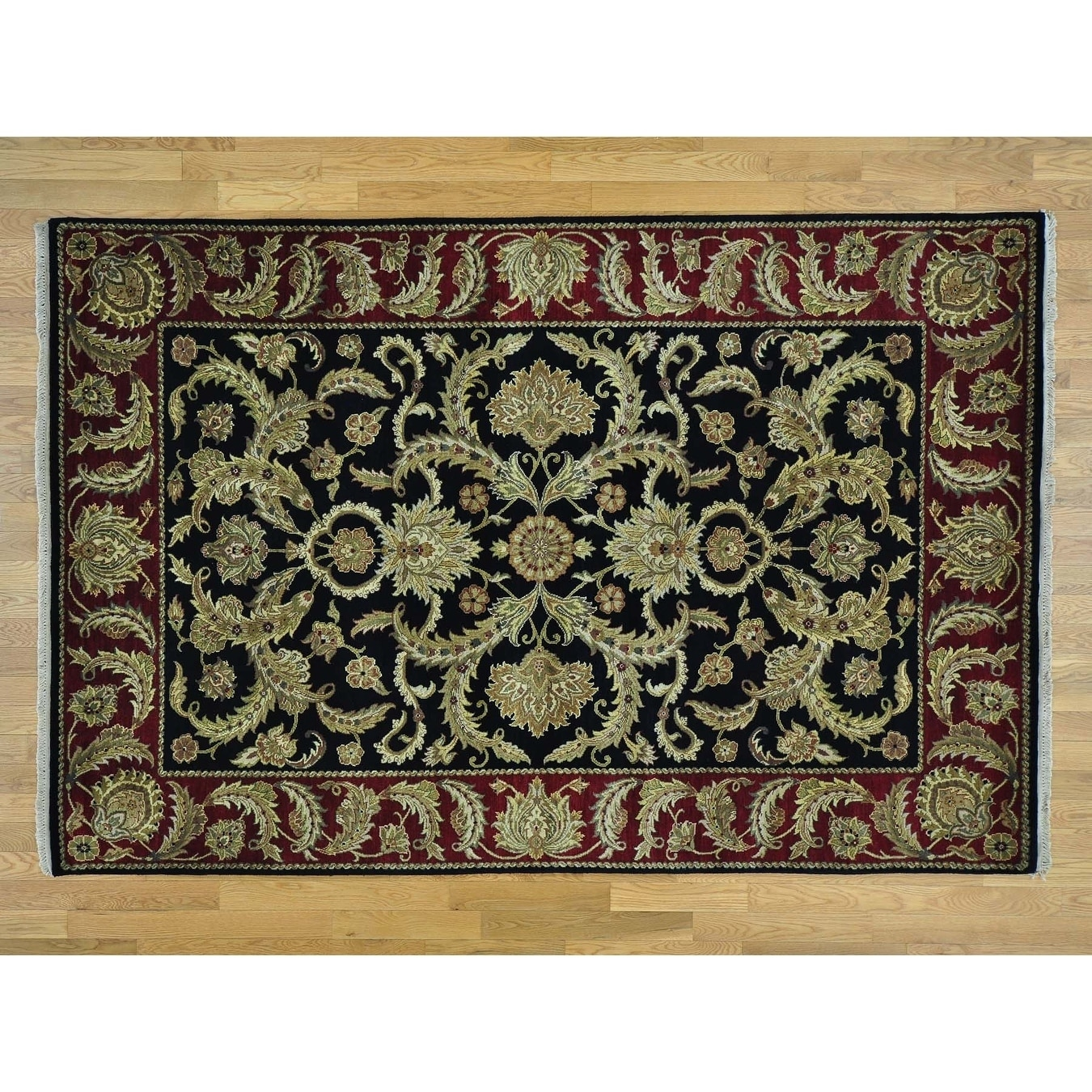 Hand Knotted Black Rajasthan with Wool Oriental Rug - 61 x 92