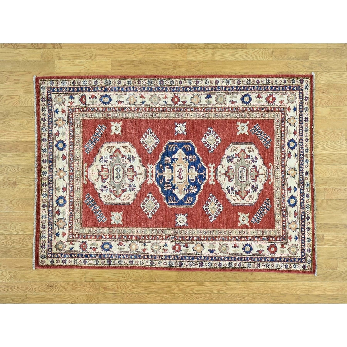 Hand Knotted Red Kazak with Wool Oriental Rug - 46 x 65