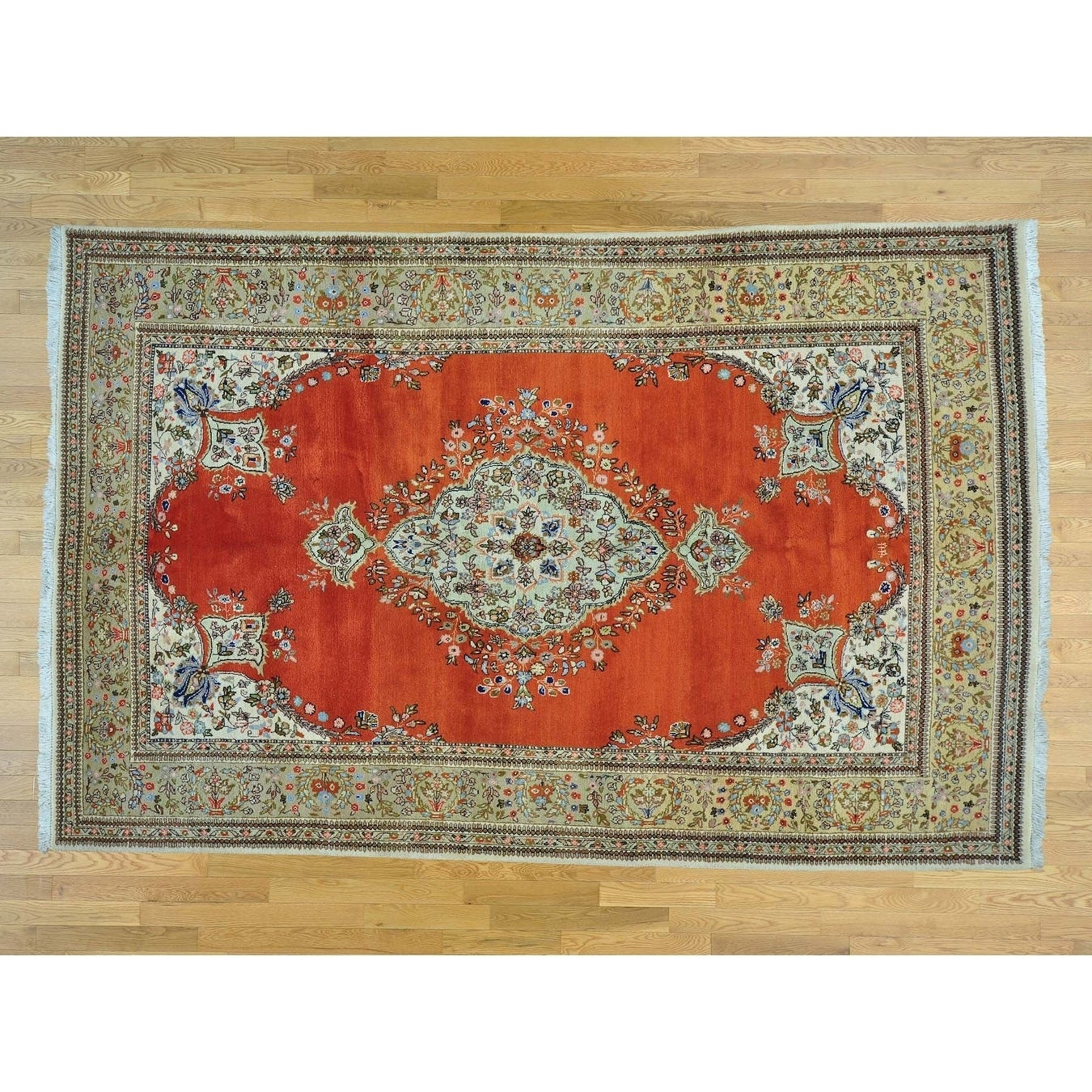 Hand Knotted Orange Persian with Wool Oriental Rug - 69 x 10