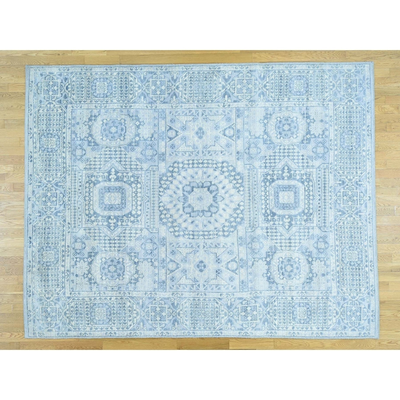 Hand Knotted Blue Mamluk with Wool Oriental Rug - 81 x 104