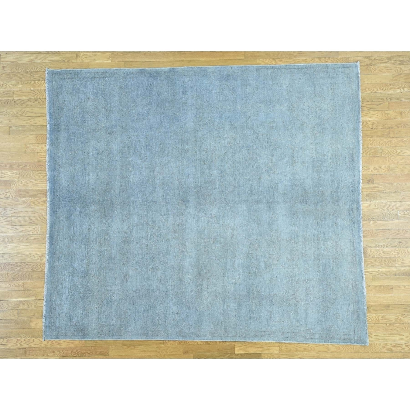 Hand Knotted Blue White Wash Vintage & Silver Wash with Wool Oriental Rug - 8 x 94