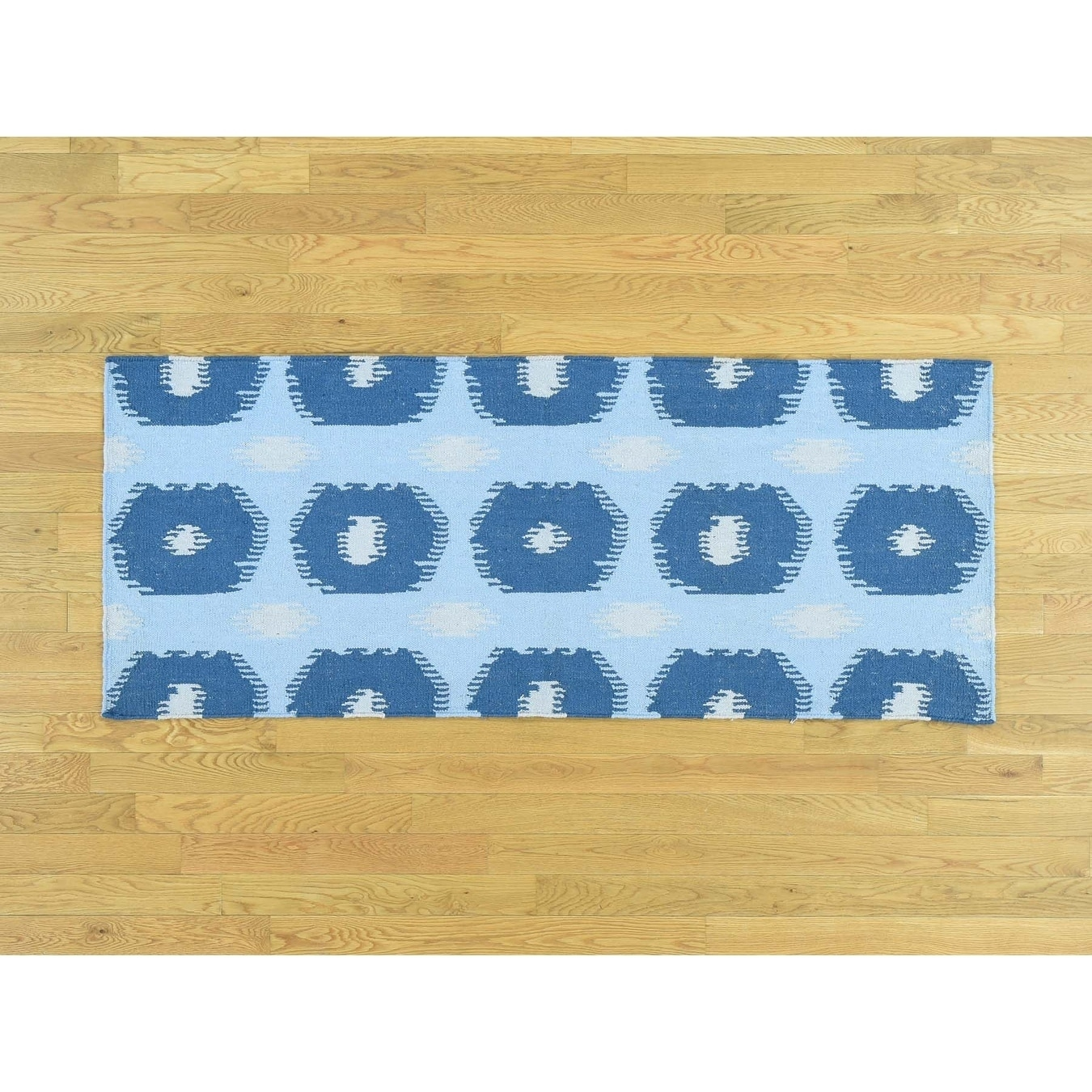 Hand Knotted Blue Flat Weave with Wool Oriental Rug - 25 x 6