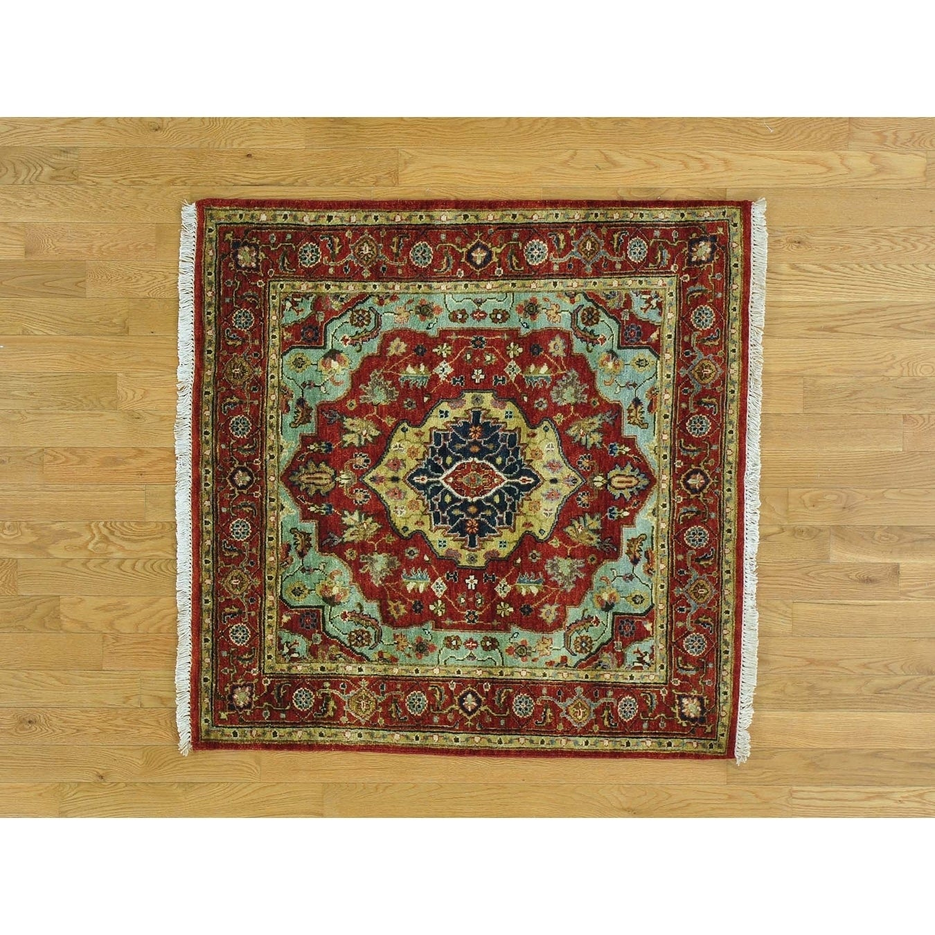 Hand Knotted Blue Heriz with Wool Oriental Rug - 4 x 41