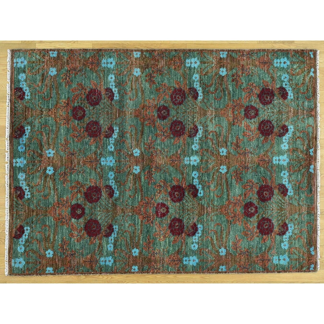 Hand Knotted Green Modern & Contemporary with Wool Oriental Rug - 52 x 7