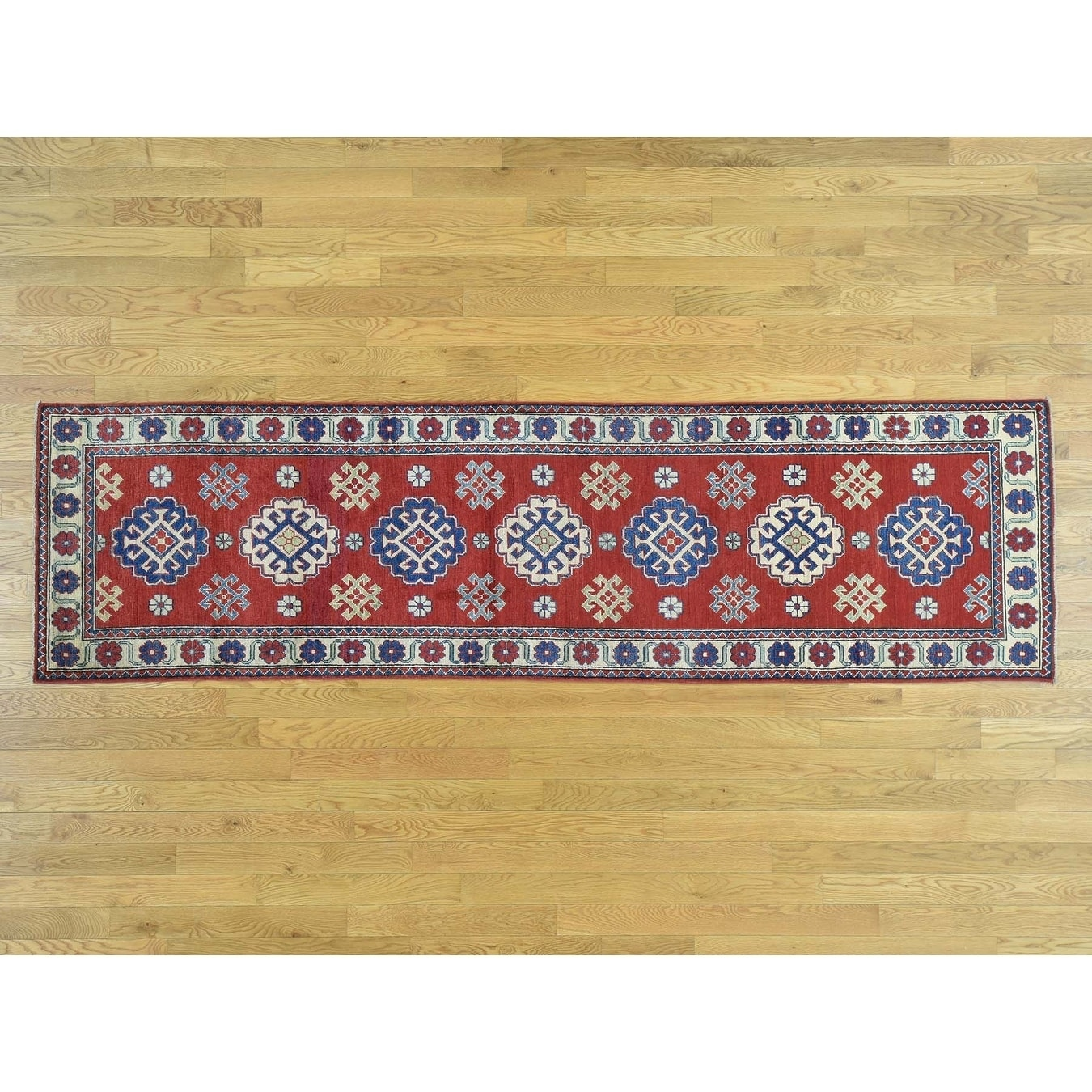 Hand Knotted Red Kazak with Wool Oriental Rug - 28 x 99