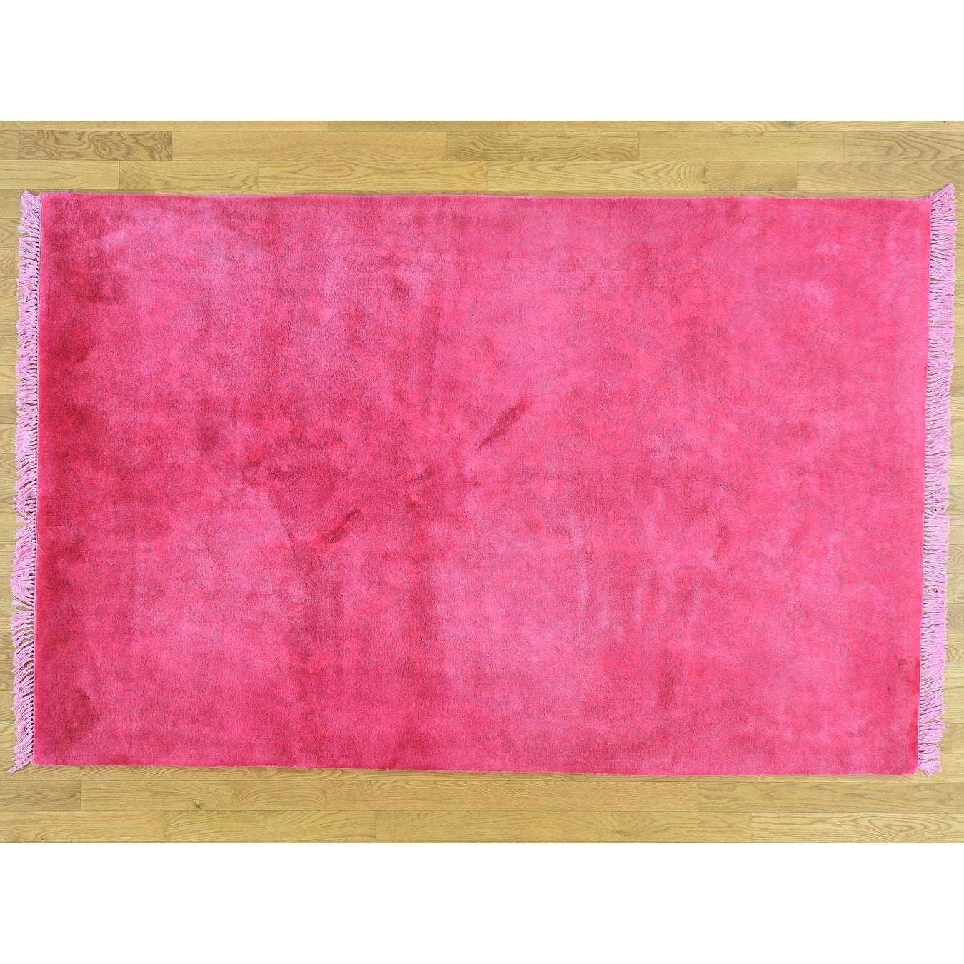 Hand Knotted Pink Overdyed & Vintage with Wool Oriental Rug - 53 x 82