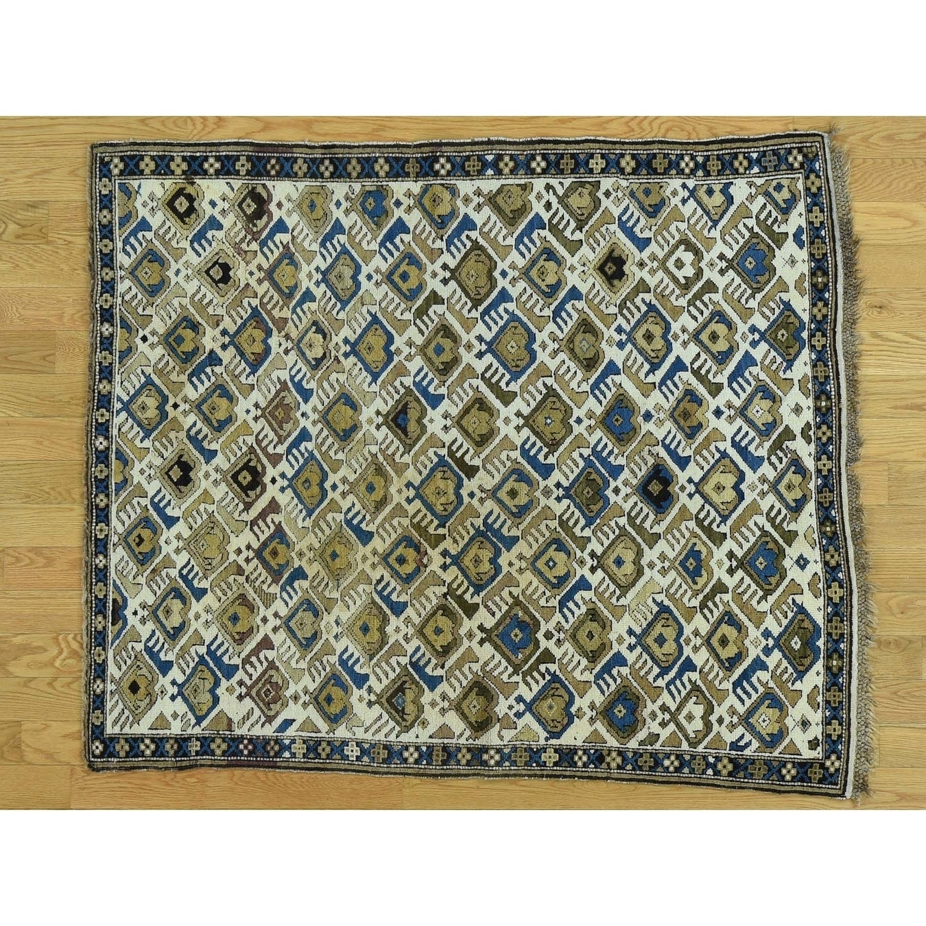 Hand Knotted Ivory Antique with Wool Oriental Rug - 4 x 49