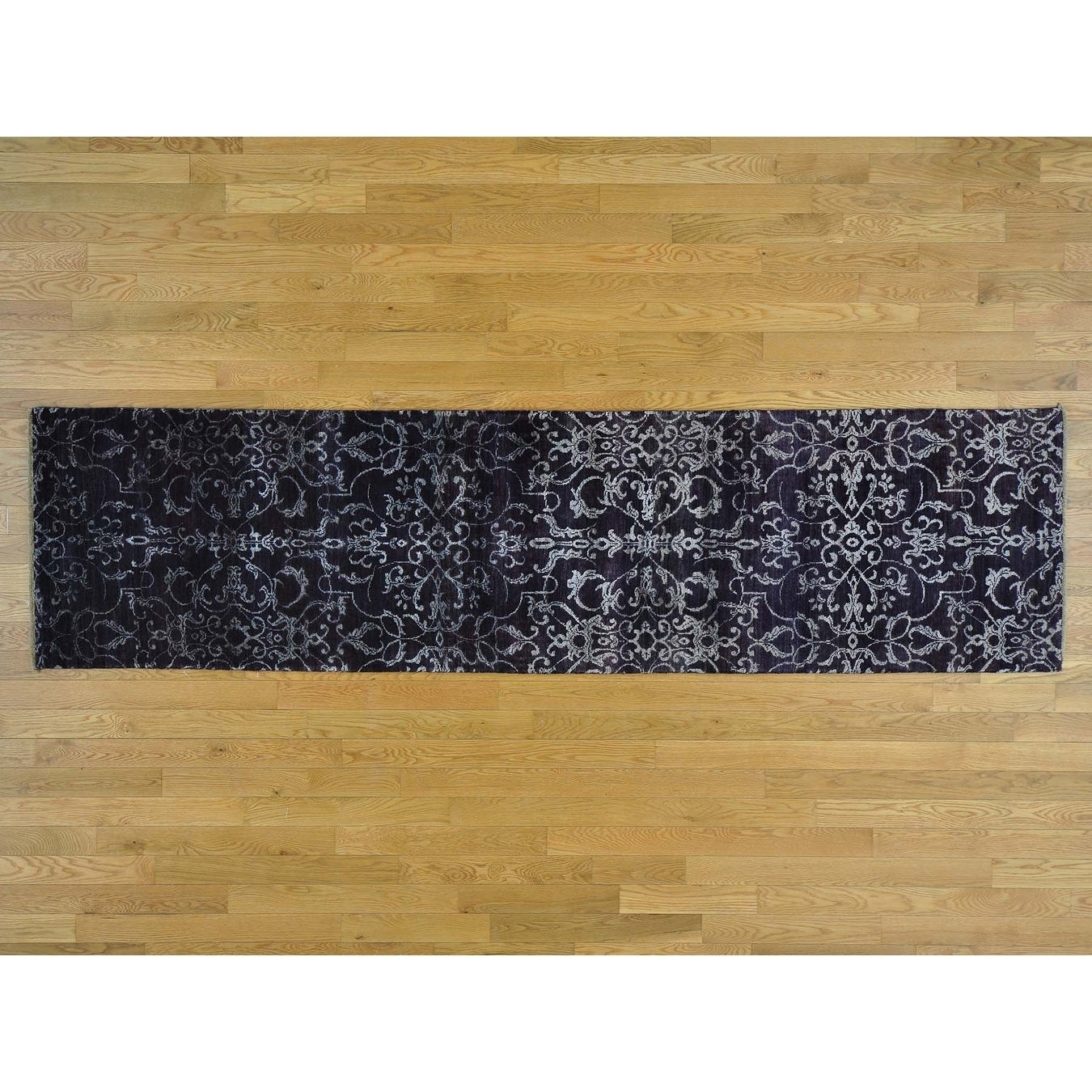 Hand Knotted Purple Modern & Contemporary with Wool & Silk Oriental Rug - 25 x 97