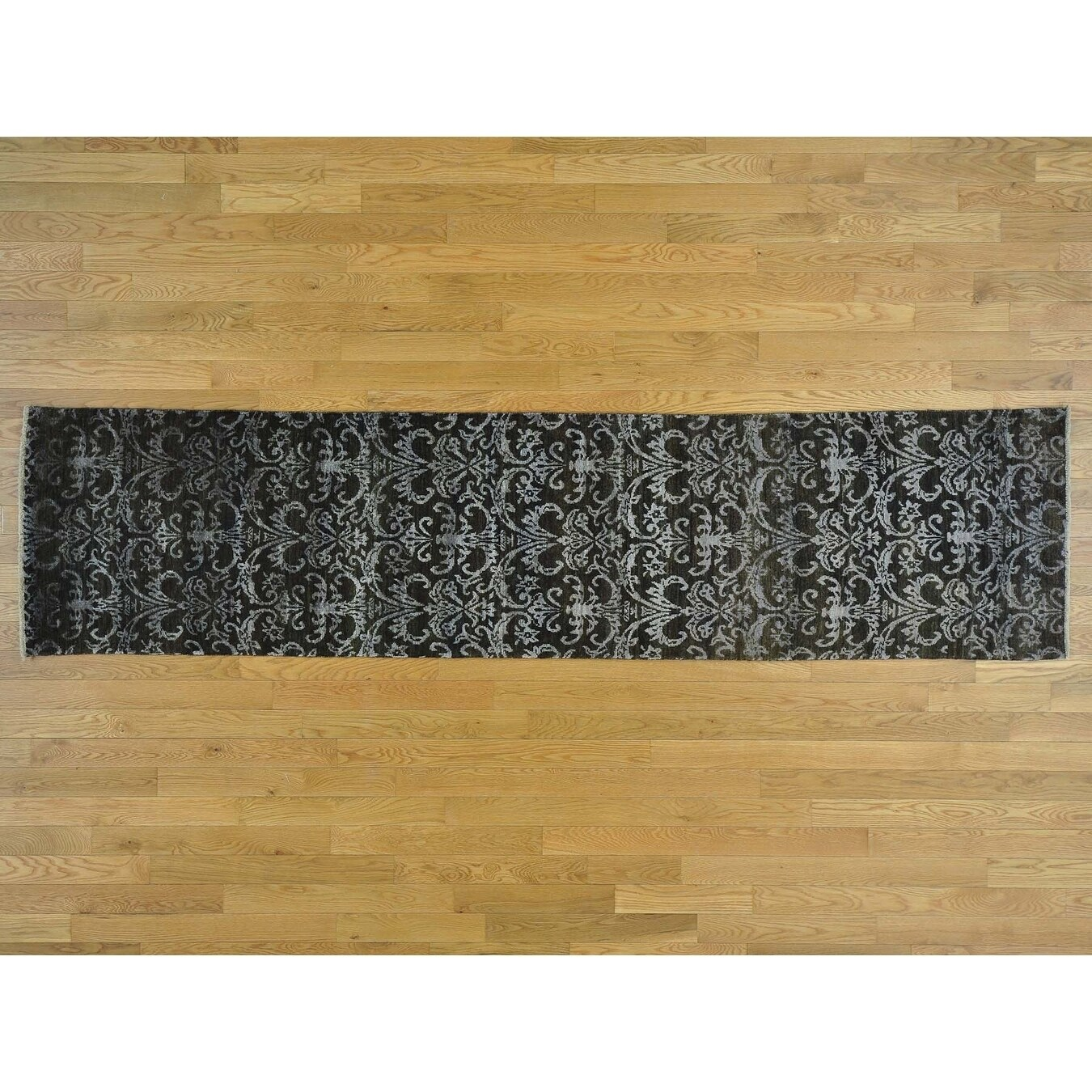 Hand Knotted Black Modern & Contemporary with Wool & Silk Oriental Rug - 24 x 98