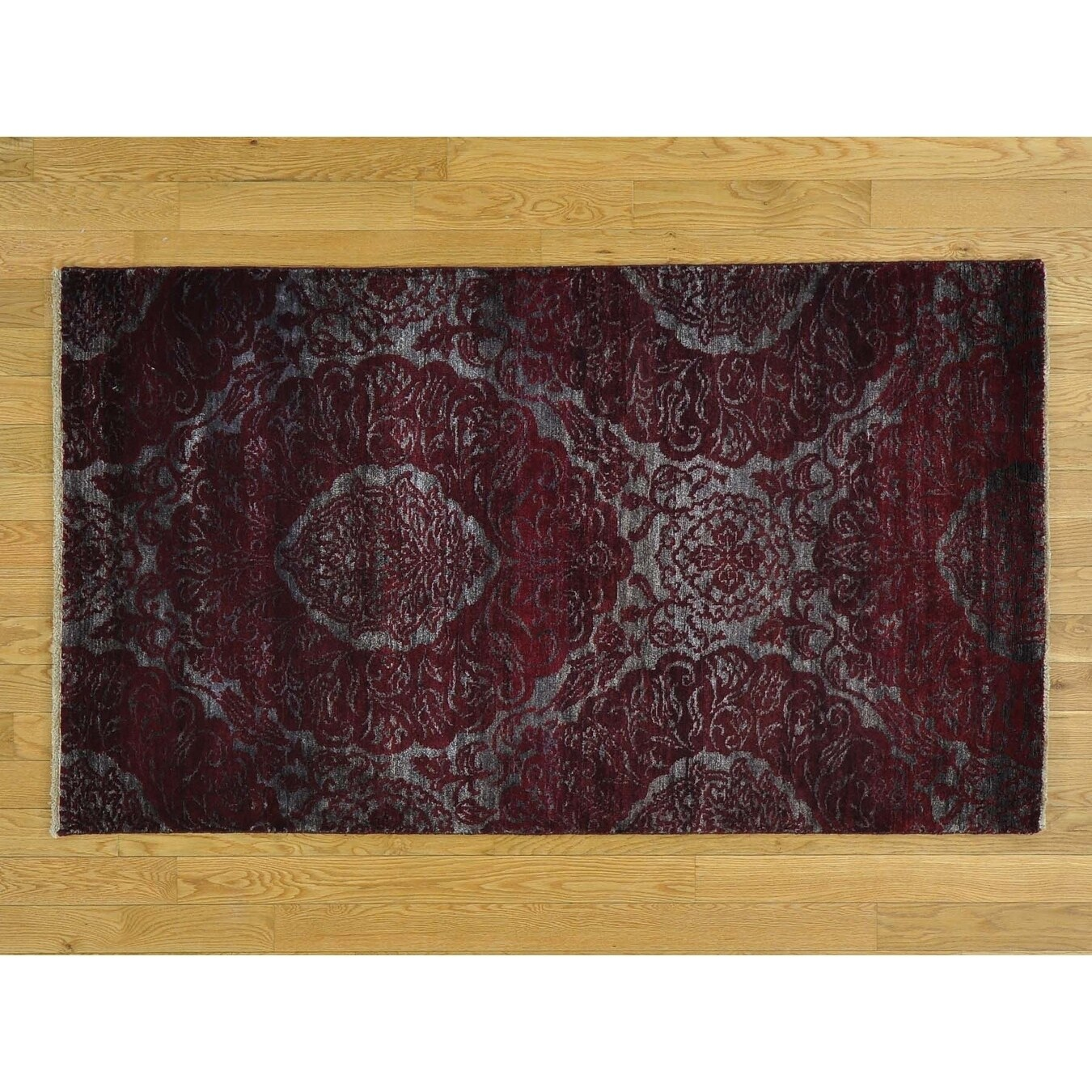 Hand Knotted Grey Modern & Contemporary with Wool & Silk Oriental Rug - 32 x 57