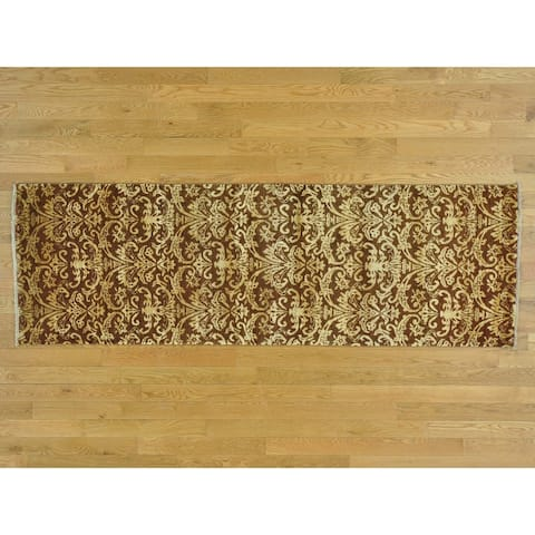 Hand Knotted Brown Modern & Contemporary with Wool & Silk Oriental Rug - 2'6 x 7'9