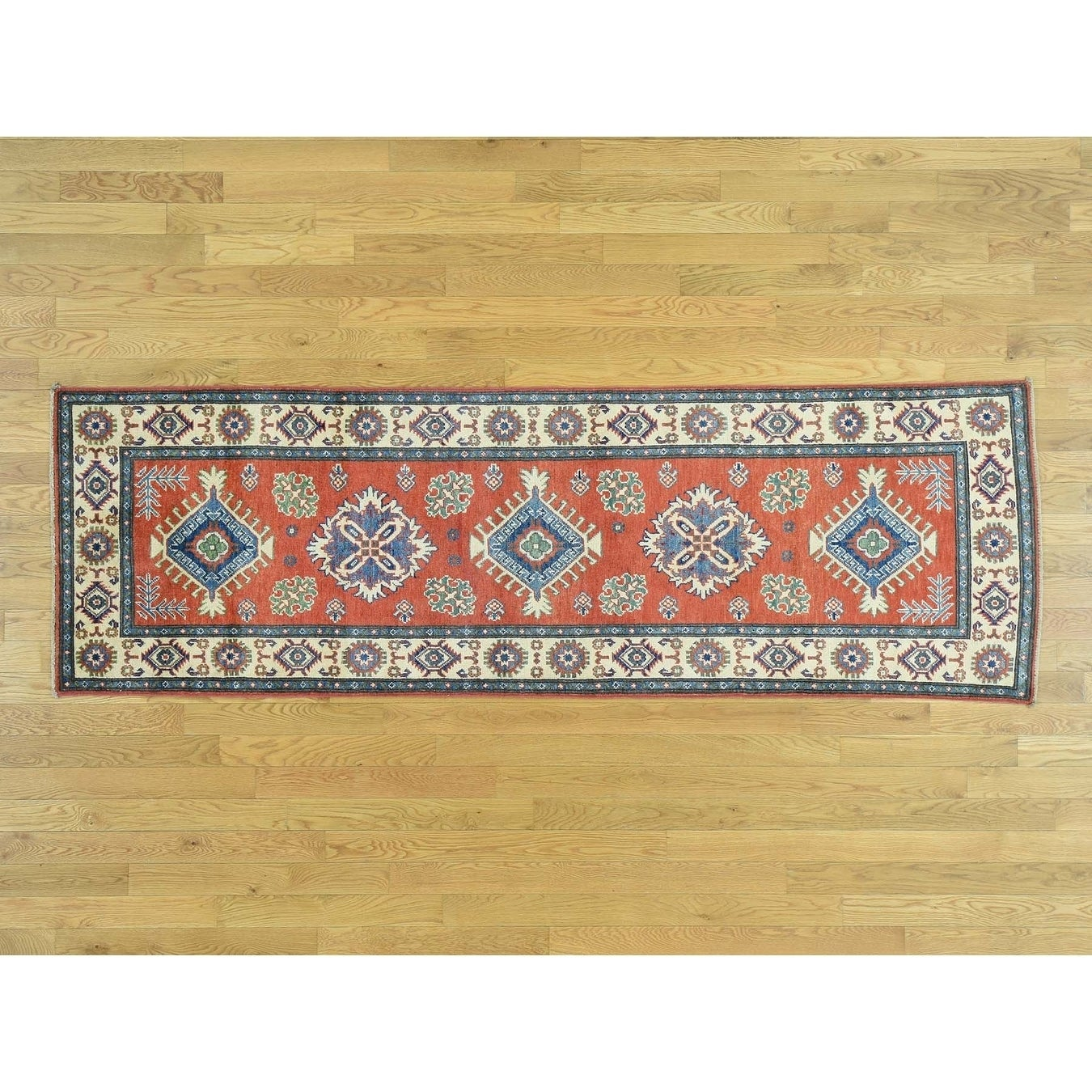 Hand Knotted Red Kazak with Wool Oriental Rug - 28 x 88