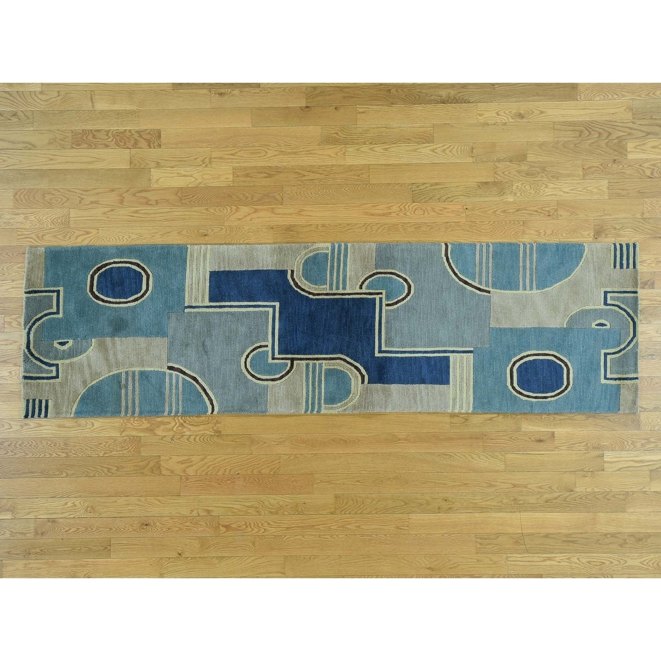 Hand Knotted Multicolored Clearance with Wool Oriental Rug - 28 x 98