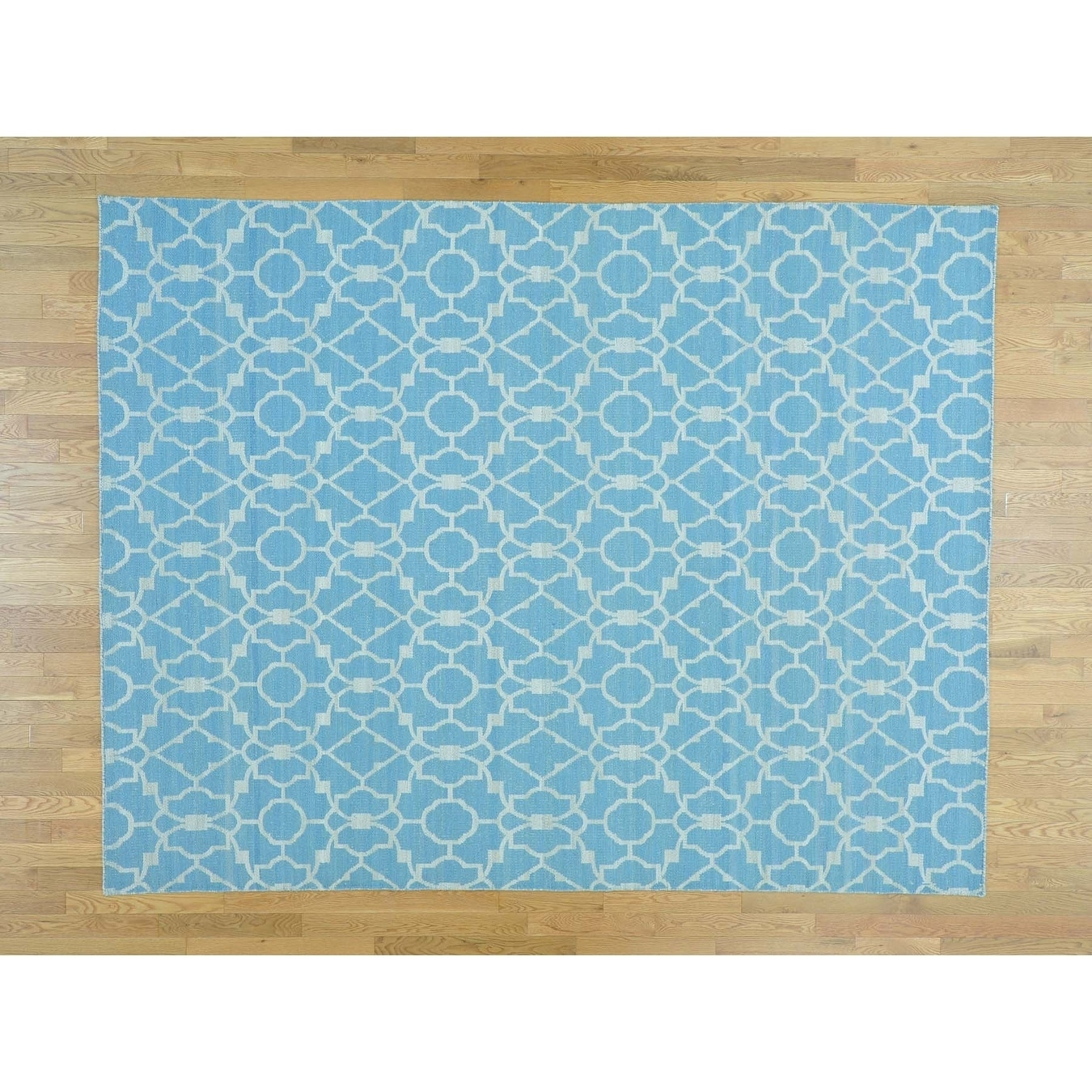 Hand Knotted Blue Flat Weave with Wool Oriental Rug - 8 x 102