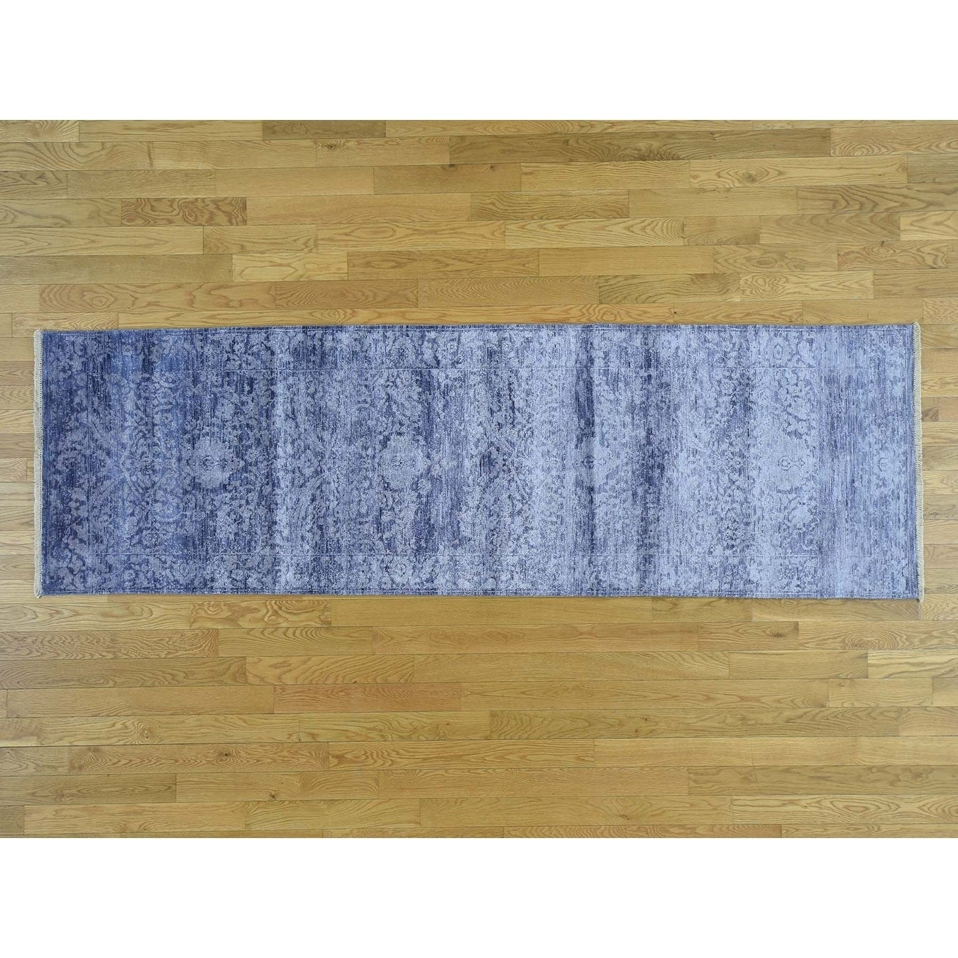 Hand Knotted Purple Modern & Contemporary with Art Silk Oriental Rug
