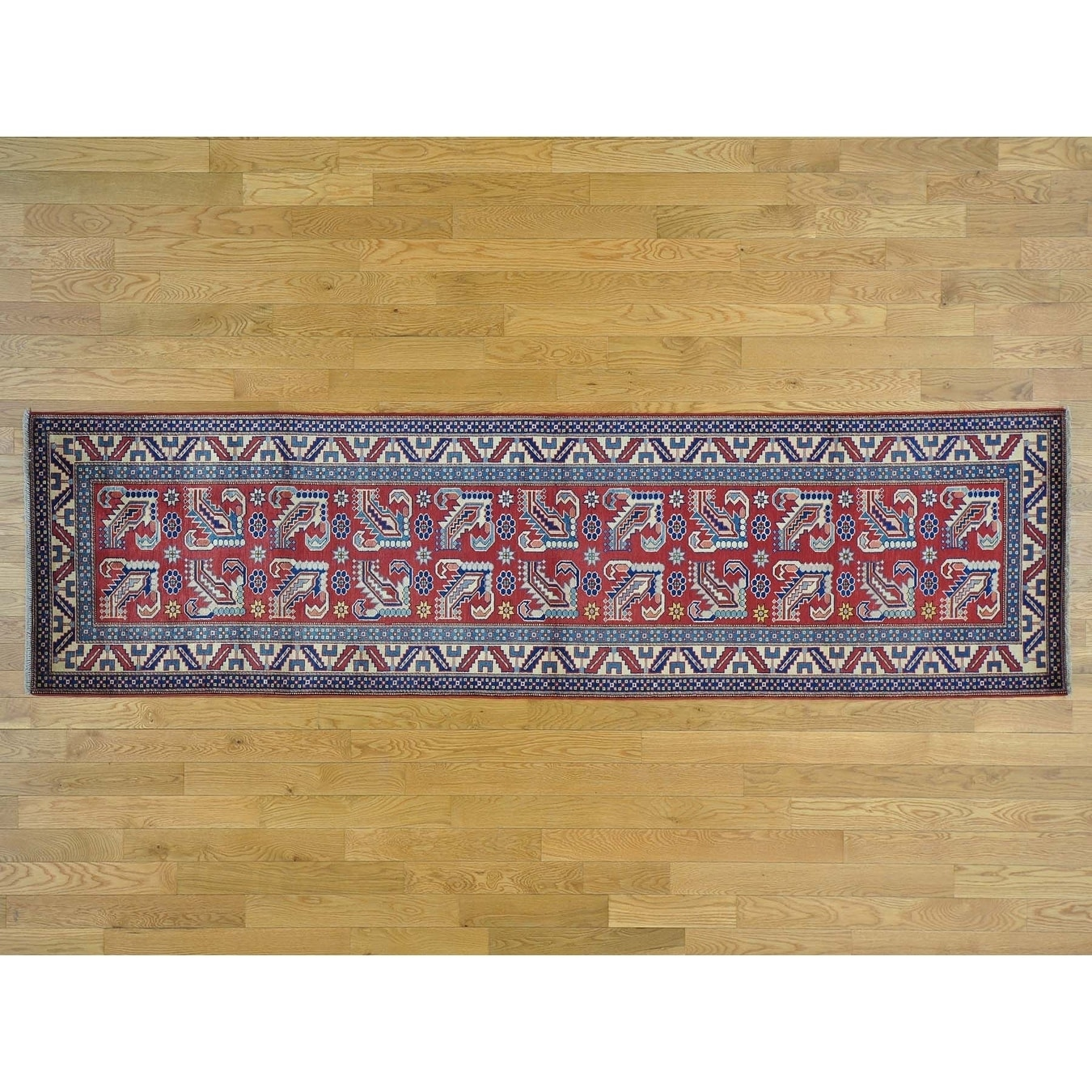 Hand Knotted Red Kazak with Wool Oriental Rug - 210 x 104