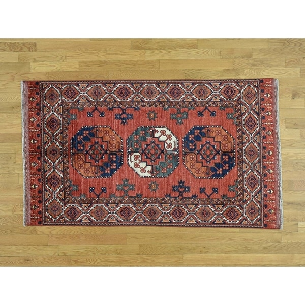 Hand Knotted Red Tribal & Geometric with Wool Oriental Rug - 4' x 6'6