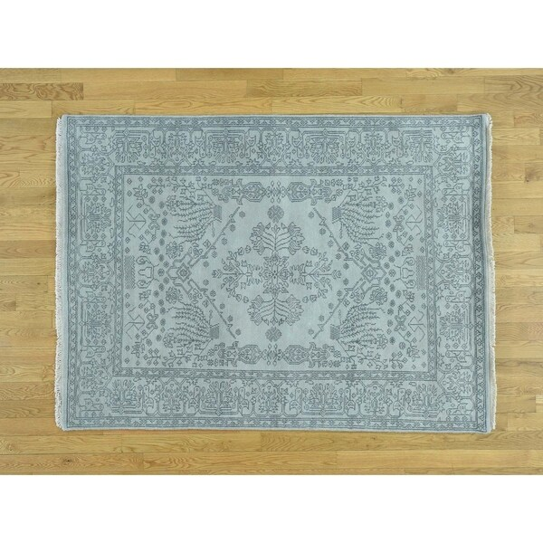Hand Knotted Grey Modern & Contemporary with Wool Oriental Rug - 4'10 x 6'7