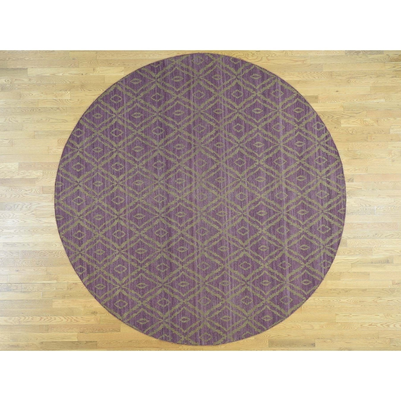 Hand Knotted Brown Flat Weave with Wool Oriental Rug - 910 x 10