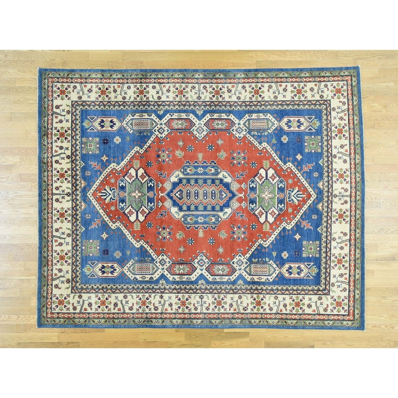 Hand Knotted Red Kazak with Wool Oriental Rug - 8 x 102