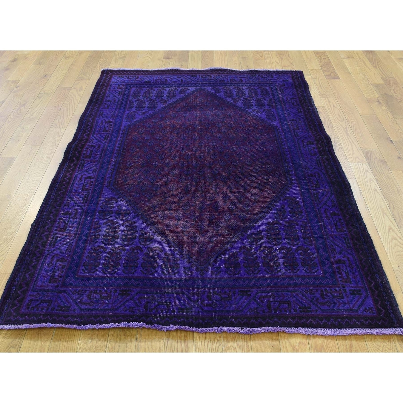 Hand Knotted Purple Overdyed & Vintage with Wool Oriental Rug - 41 x 62