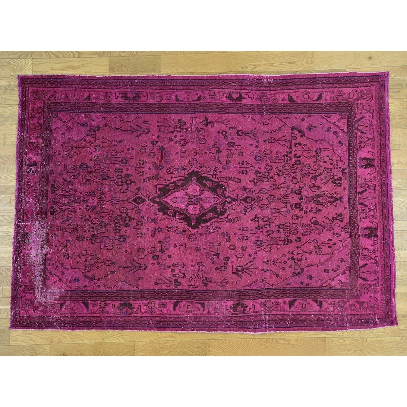 Hand Knotted Pink Overdyed & Vintage with Wool Oriental Rug - 610 x 10
