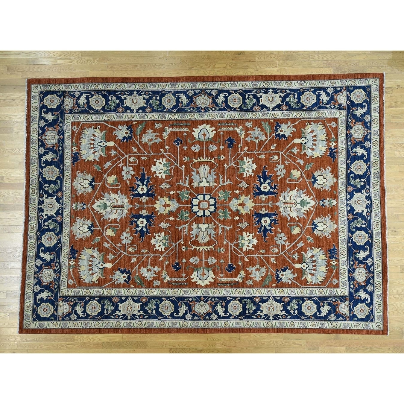 Hand Knotted Red Heriz with Wool Oriental Rug - 10 x 1310