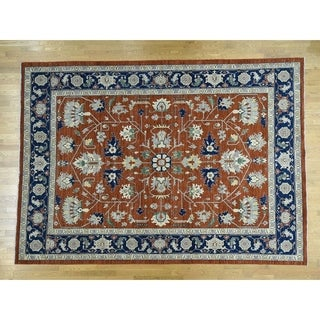 Hand Knotted Red Heriz with Wool Oriental Rug - 10' x 13'10