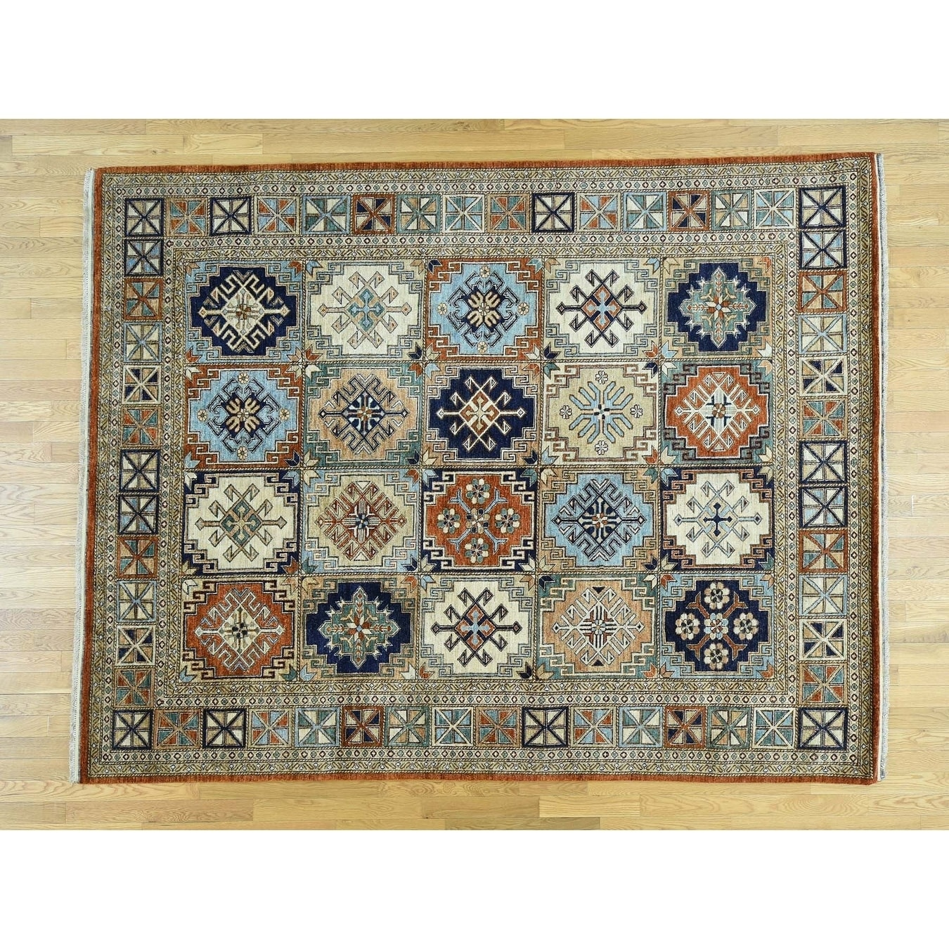 Hand Knotted Multicolored Tribal & Geometric with Wool Oriental Rug - 81 x 104
