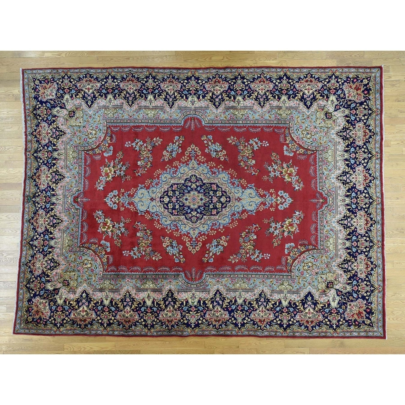 Hand Knotted Red Persian with Wool Oriental Rug - 99 x 133