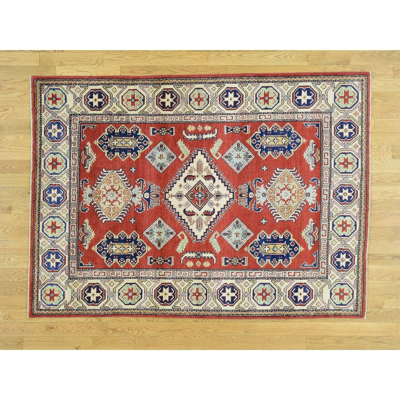 Hand Knotted Red Kazak with Wool Oriental Rug - 410 x 69