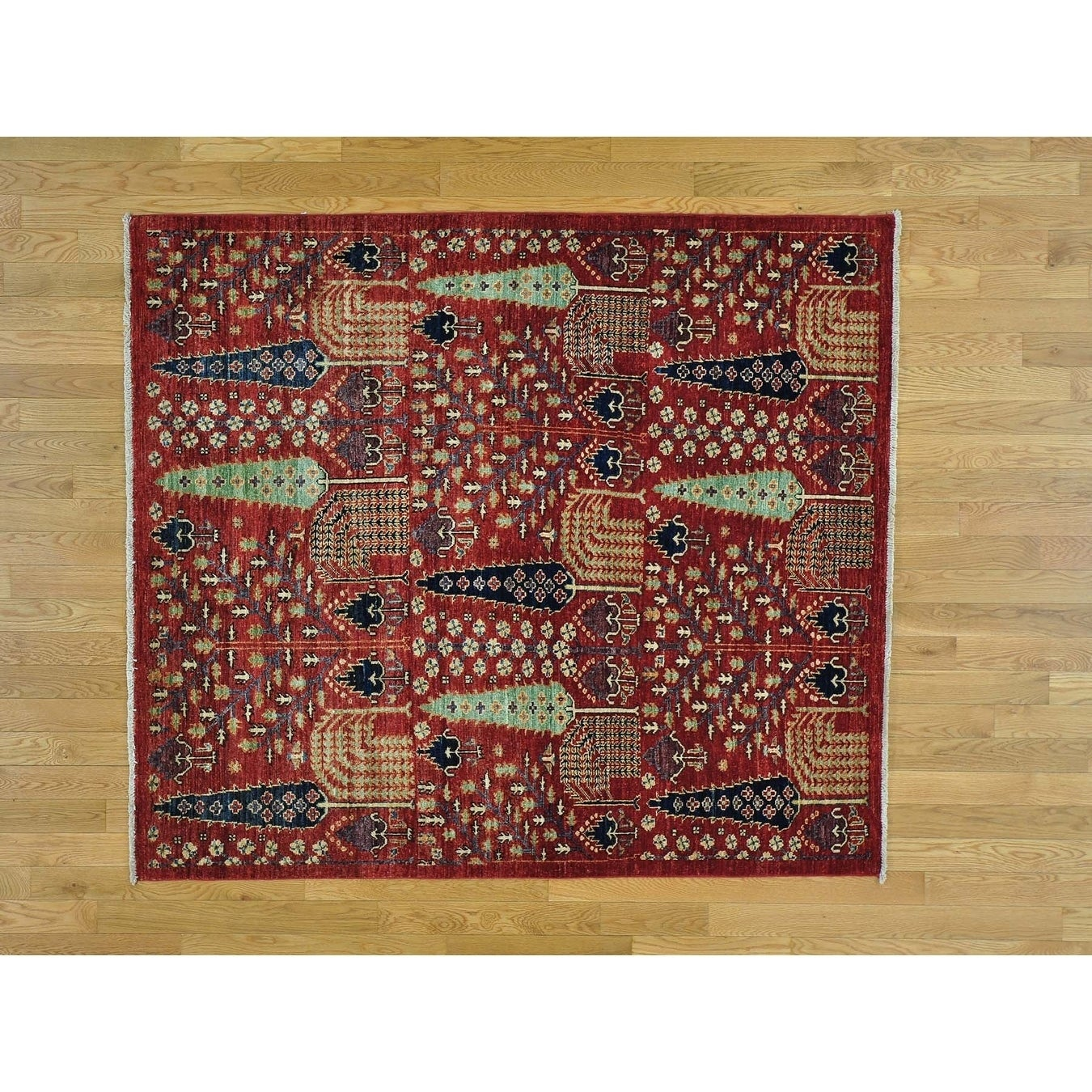 Hand Knotted Red Tribal & Geometric with Wool Oriental Rug - 54 x 61