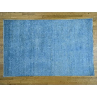 Hand Knotted Blue Overdyed & Vintage with Wool Oriental Rug - 6' x 9'5