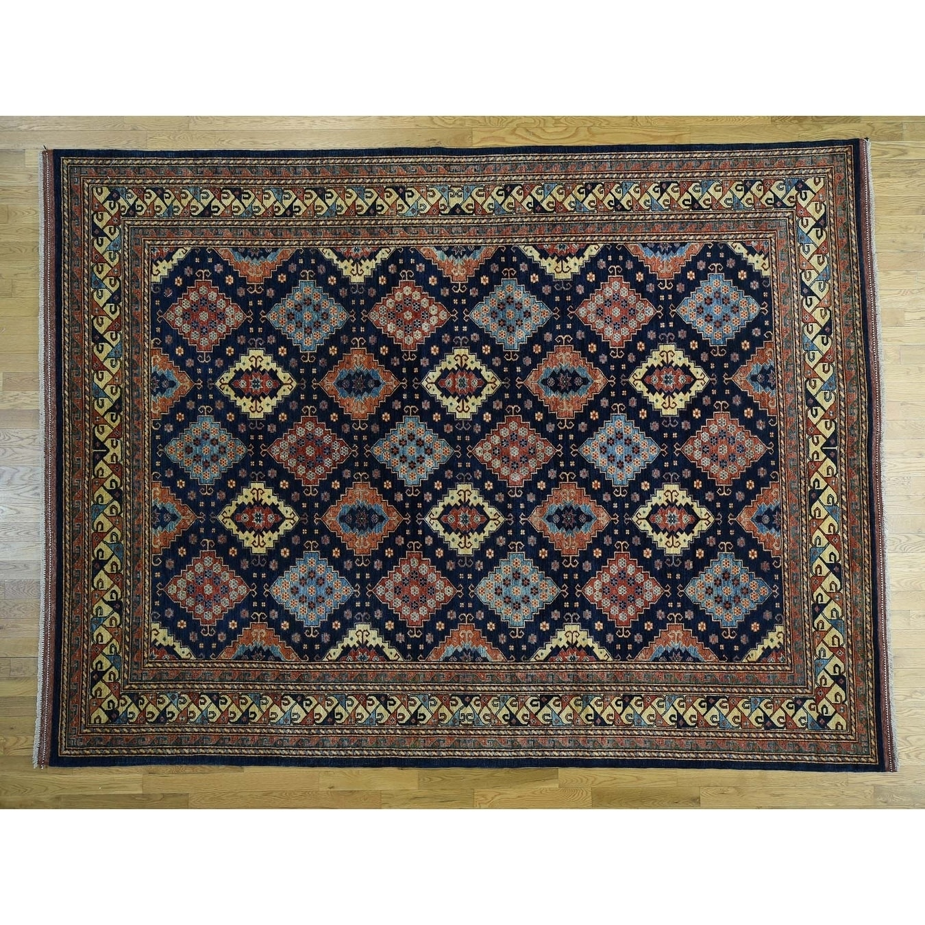 Hand Knotted Blue Tribal & Geometric with Wool Oriental Rug