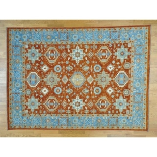Hand Knotted Red Oushak And Peshawar with Wool Oriental Rug - 9' x 12'2