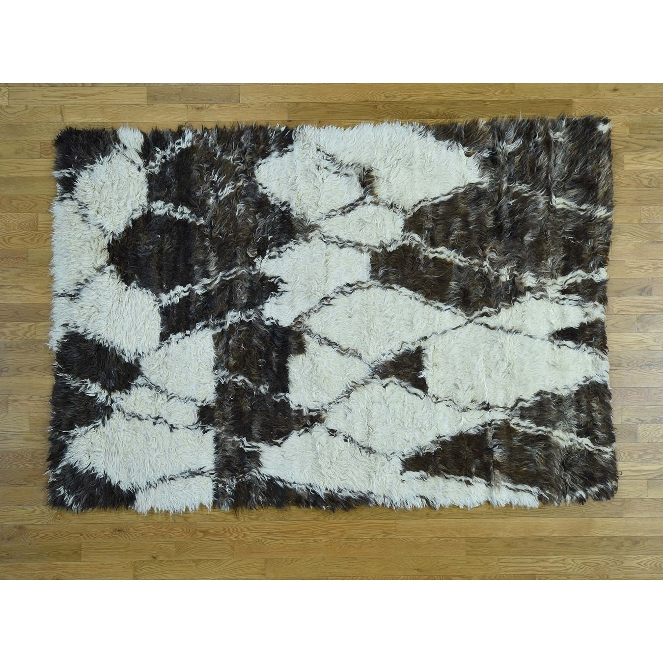 Hand Knotted Ivory Tribal & Geometric with Wool Oriental Rug - 58 x 82