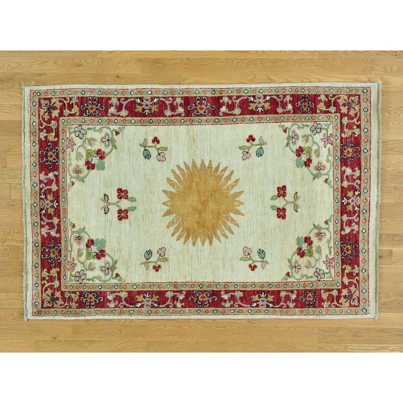 Hand Knotted Ivory Oushak And Peshawar with Wool Oriental Rug - 4 x 61