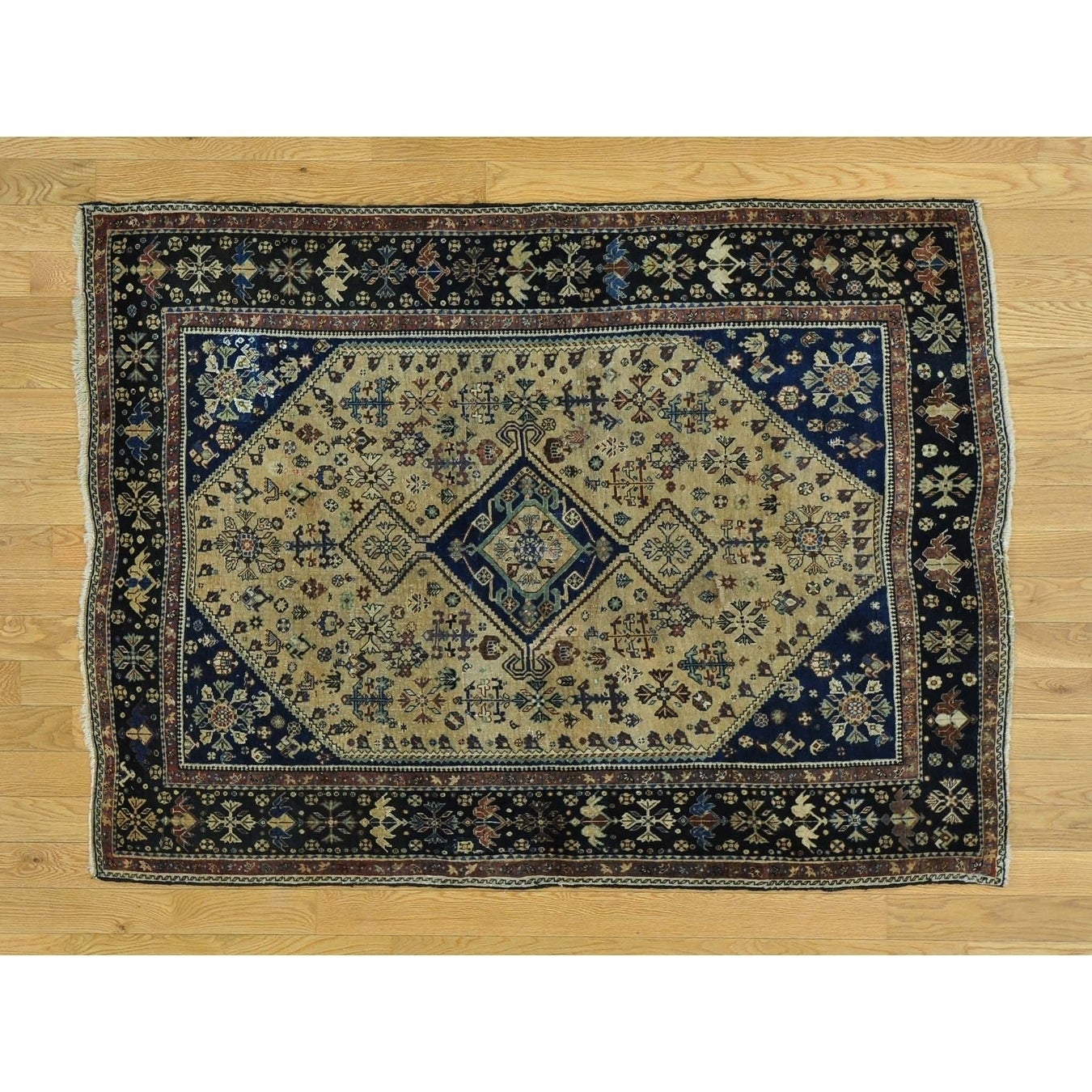 Hand Knotted Beige Antique with Wool Oriental Rug - 41 x 54