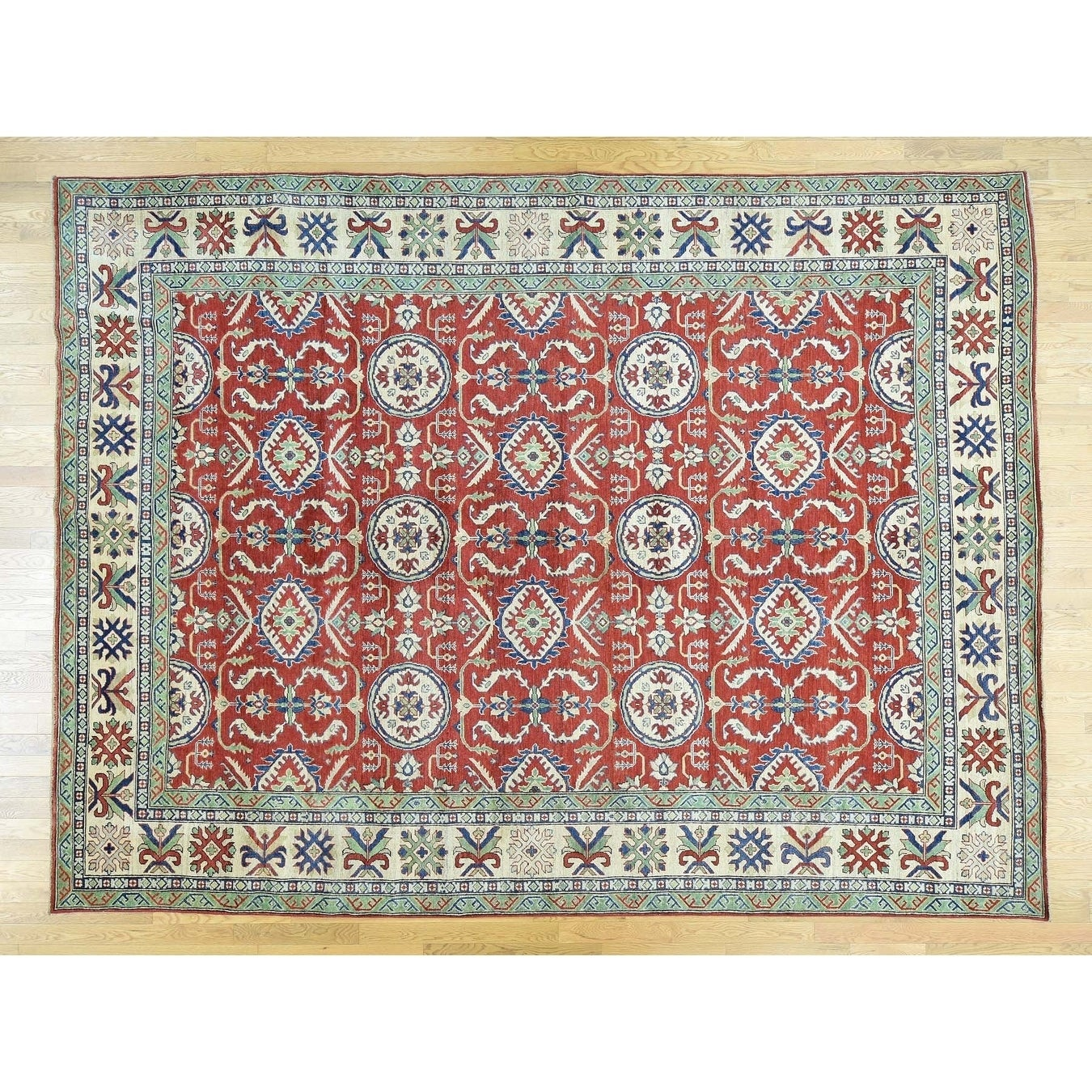 Hand Knotted Red Kazak with Wool Oriental Rug - 910 x 13