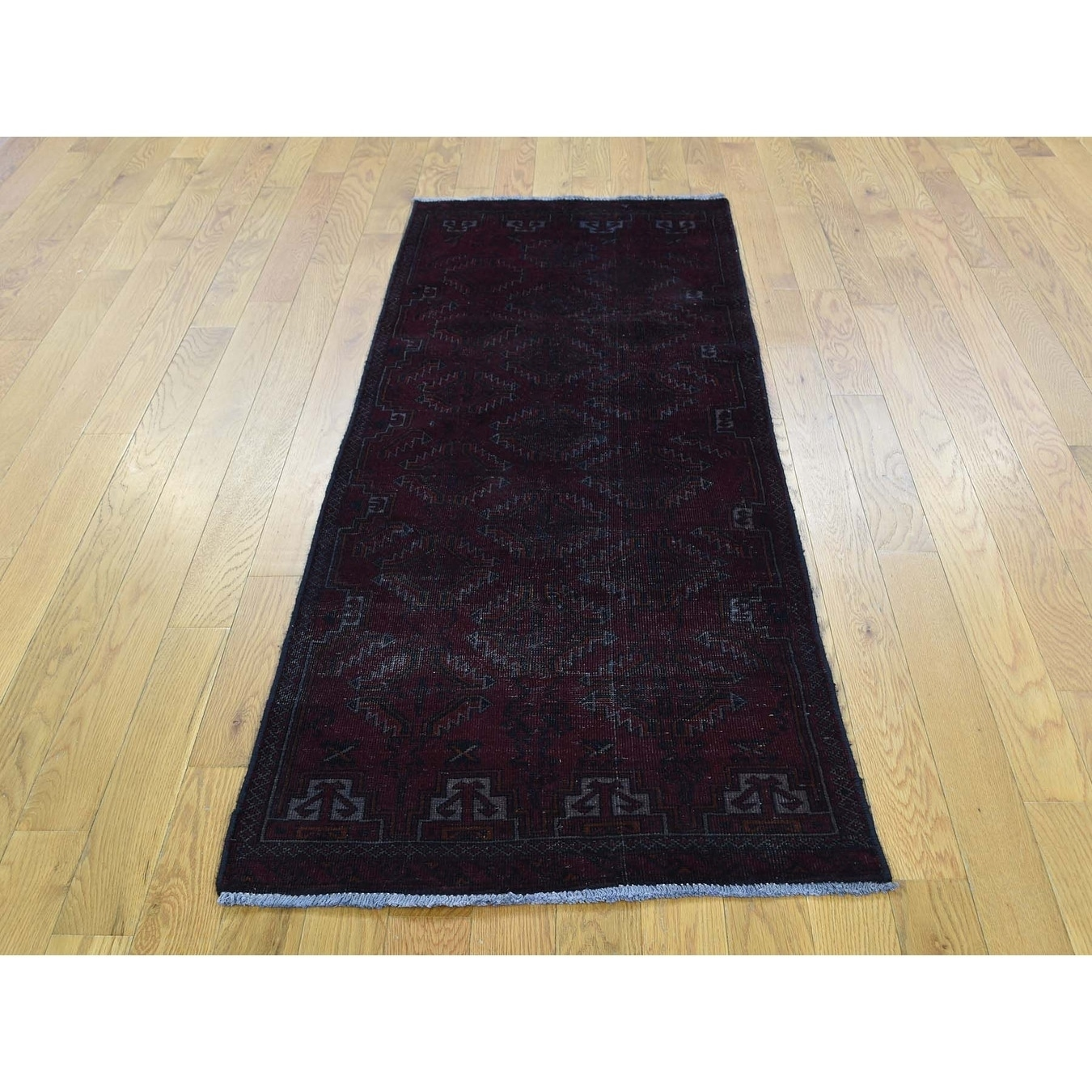 Hand Knotted Black Overdyed & Vintage with Wool Oriental Rug - 23 x 510