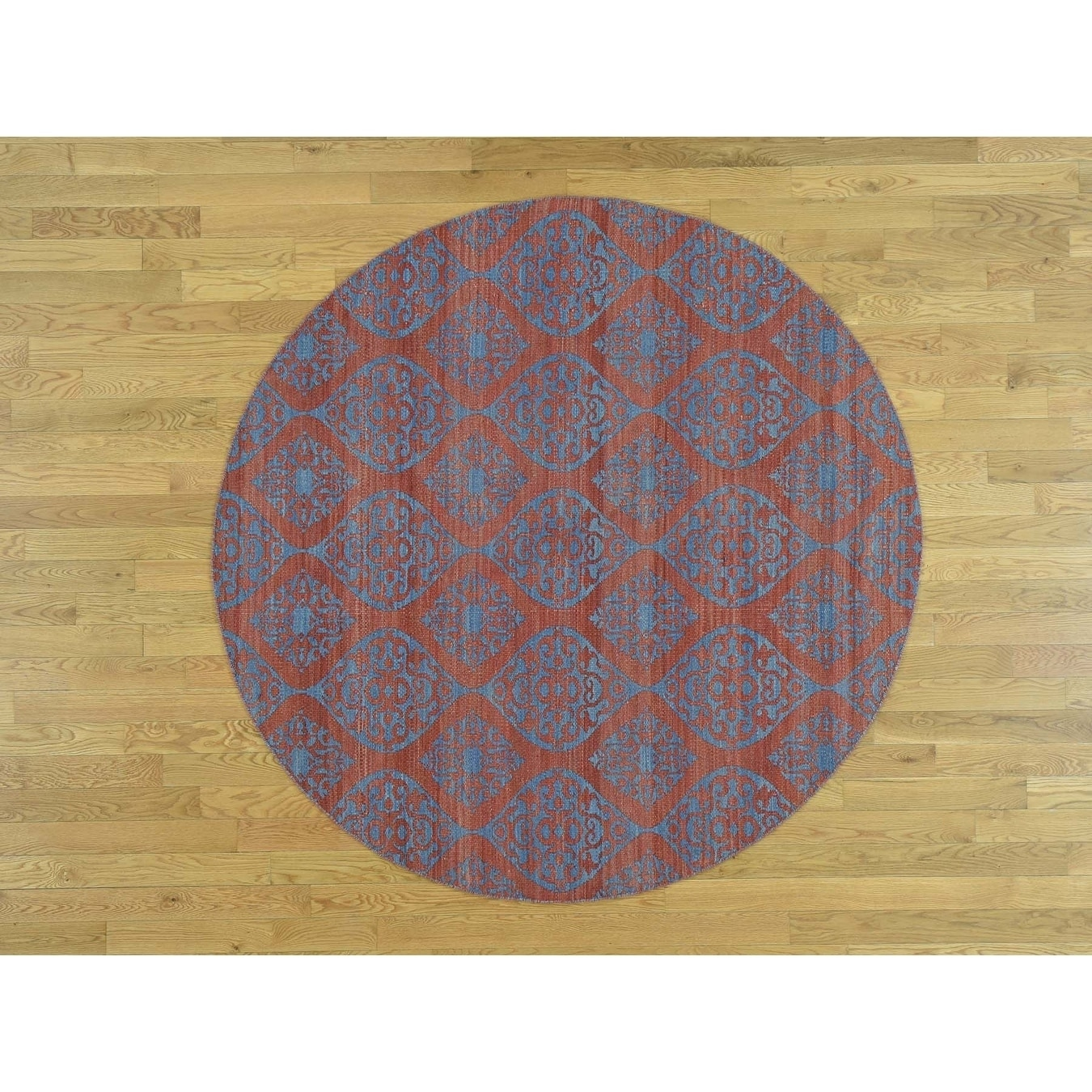 Hand Knotted Red Flat Weave with Wool Oriental Rug - 6 x 6