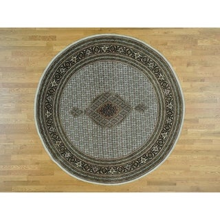 Hand Knotted Ivory Fine Oriental with Wool & Silk Oriental Rug - 8' x 8'