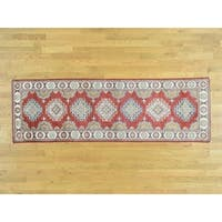 Hand Knotted Red Kazak with Wool Oriental Rug - 2'8 x 8'5