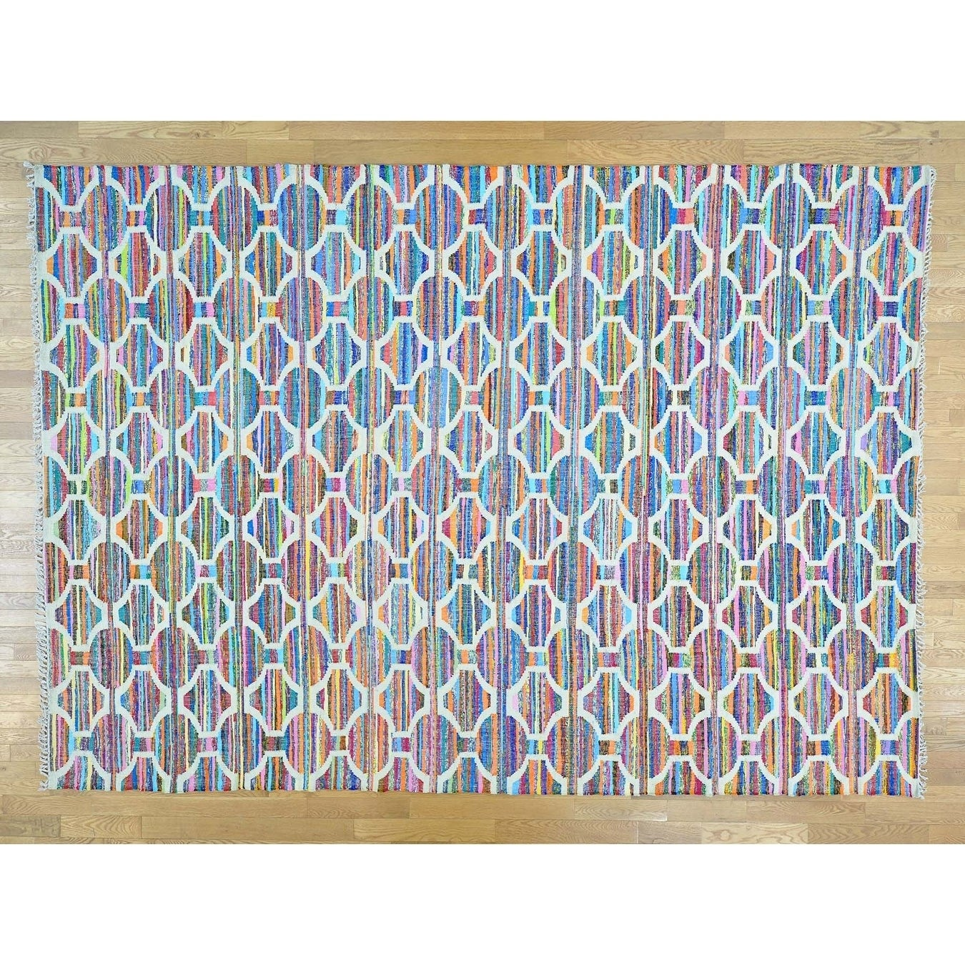 Hand Knotted Multicolored Flat Weave with Cotton Oriental Rug - 10 x 1310