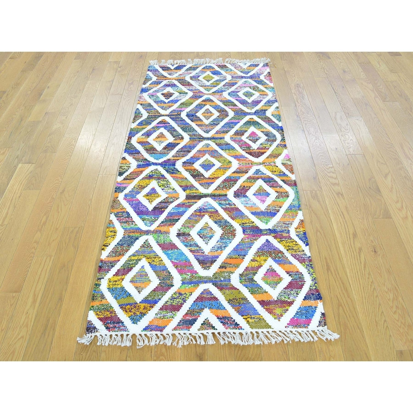 Hand Knotted Multicolored Flat Weave with Cotton Oriental Rug - 27 x 6